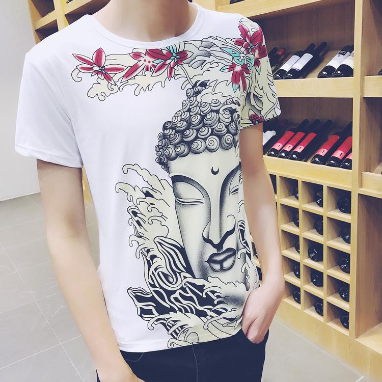 热卖夏季男士短袖t恤圆领关羽霸气龙纹身印花图案有领带领男装上衣服