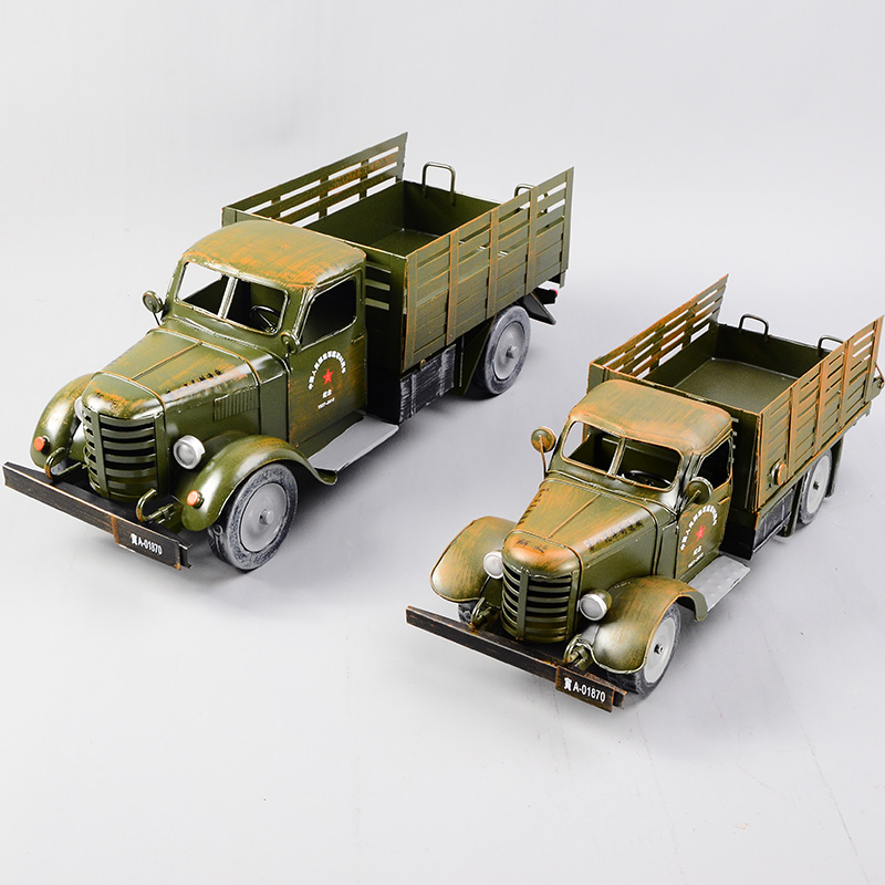 老式卡车_热卖复古大卡车模型军绿色铁皮老式卡车餐具摆件橱窗礼品推荐