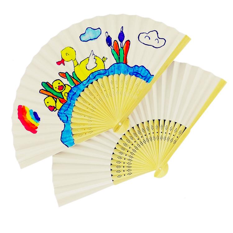 diy空白纸扇子折扇白色彩色儿童手绘绘画扇子画画幼儿图片