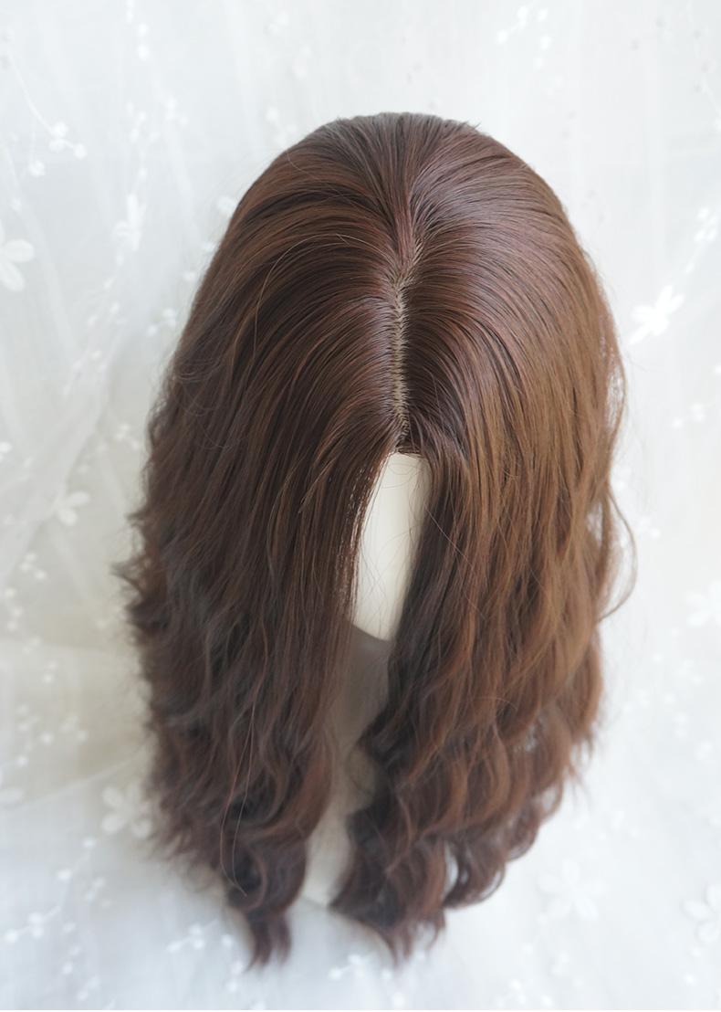 网红女假发长卷发空气刘海玉米烫中长发波浪泡面卷蛋卷头假发套图片
