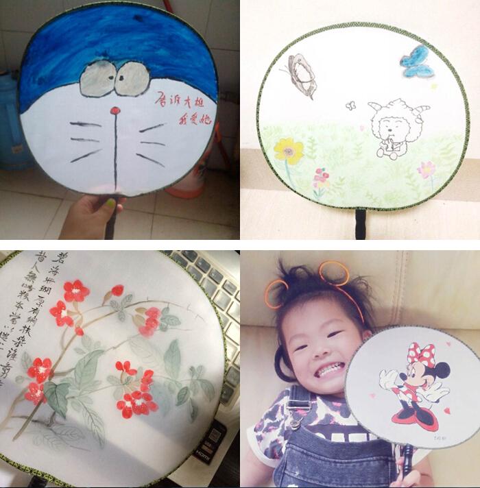 满40把包邮 宫扇 大号儿童学生绘画空白宫扇团扇素面扇子 练习扇图片