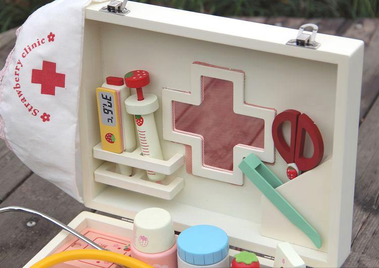 热卖儿童仿真木制医药工具箱医生玩具听诊器打针套装男女孩医院过家家