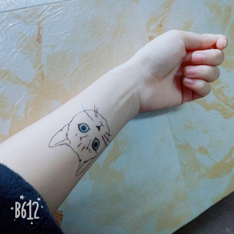 热卖包邮热卖王逗逗同款纹身贴手腕猫咪英文字母小清新情侣款防水男女