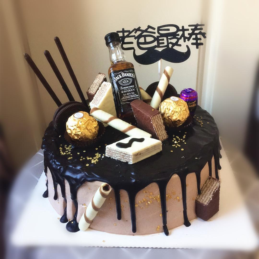 热卖洋酒瓶巧克力生日蛋糕 送爸爸老公男友领导动物奶油大连同城配送图片