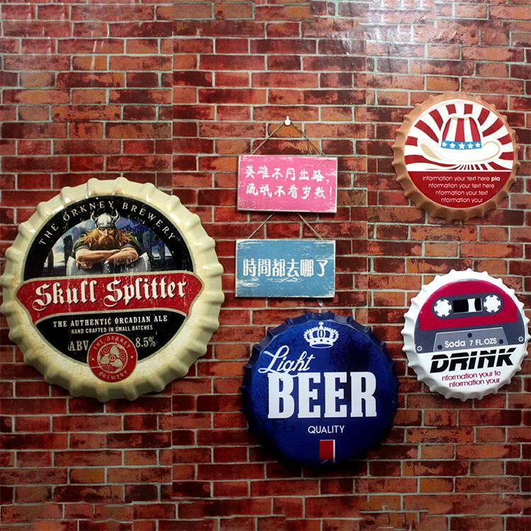 复古啤酒瓶盖创意立体墙饰墙面酒吧装饰咖啡厅挂件壁饰铁皮画壁挂图片