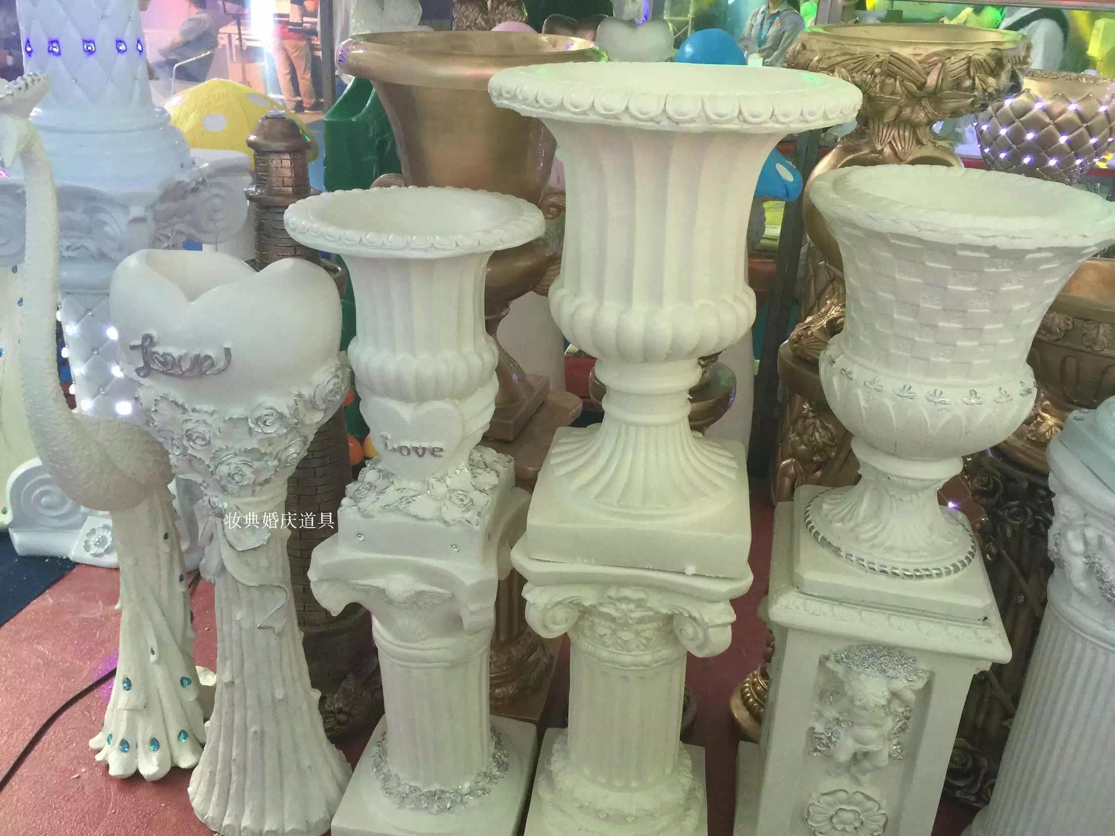 热卖新款婚庆道具欧式金色条罗马柱路引花盆玻璃钢树脂路引道具推荐图片