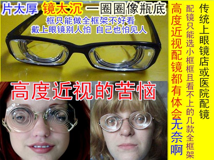 热卖高度近视眼镜男女配千度切边1mm厚超轻薄无框架随意搭配潮时尚美图片