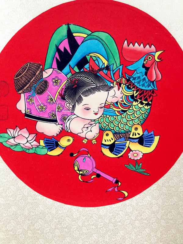 热卖赵小姐年画馆手绘绵竹年画童子娃娃喜庆吉祥中式卷轴商务婚庆礼品图片