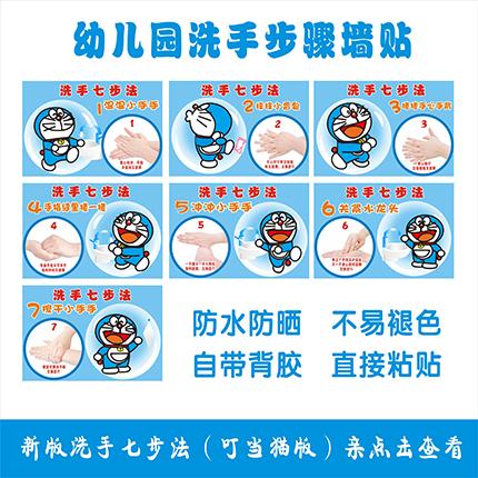 标准六七步洗手法 洗手六七步 幼儿园卡通洗手图 创意图片
