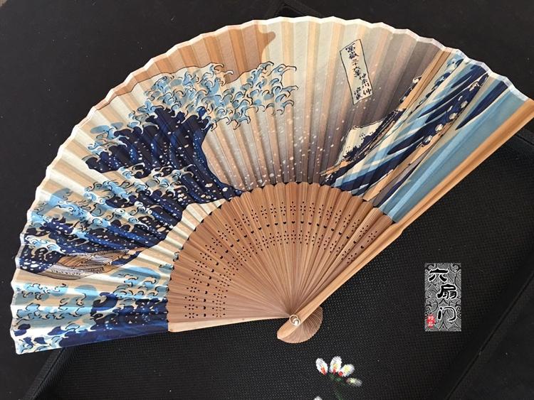 热卖日式和风扇浮世绘神奈川海浪富士山折扇日本和扇男女工艺扇礼品夏