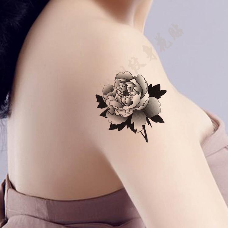 热卖纹身贴防水女性感黑白个性玫瑰花 胸口胳膊腿部刺青贴 遮疤痕推荐