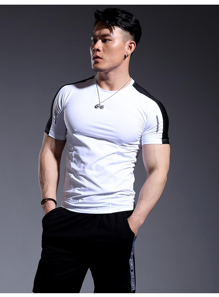 热卖紧身衣男速干压缩衣健身服男运动短袖t恤跑步健身教练速干弹力夏