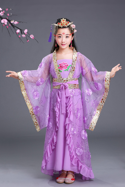 热卖儿童贵妃拖尾古装仙女小贵妃唐朝公主汉服古筝舞蹈cos摄影演出服