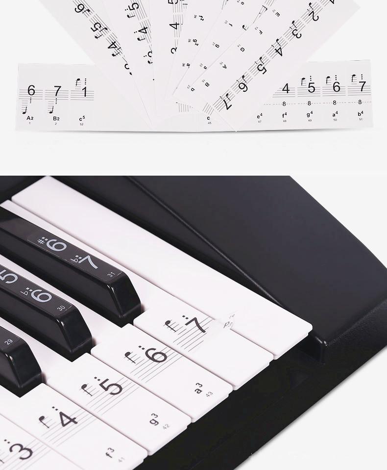 88键61键54键透明五线谱简谱琴键贴纸 钢琴电子琴键盘贴送黑键贴图片