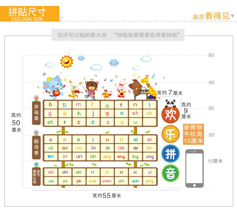 热卖小学幼儿园学校班级文化教室布置墙面装饰墙贴纸汉语拼音字母表图片