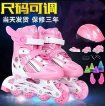 轮滑鞋不闷脚儿童双排女童滑板鞋初学者小女孩耐磨中大童溜冰鞋小