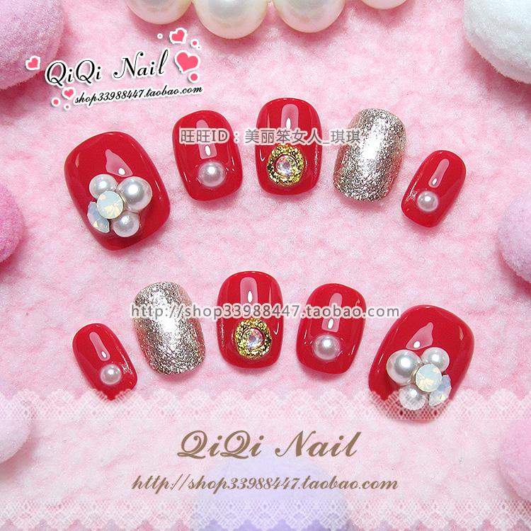 日系光疗甲片成品美甲贴片手工甲片定做 短款红色珍珠