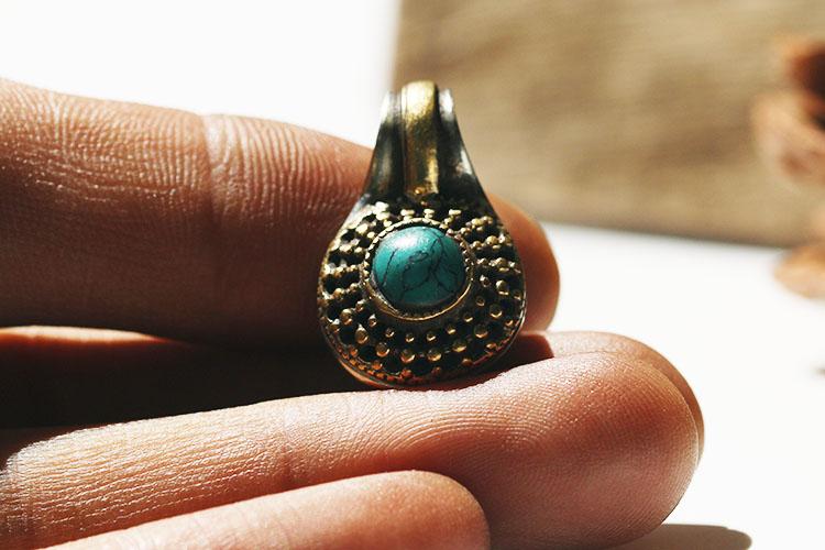 热卖西藏藏式卡子 黄铜镶嵌绿松石佛珠念珠手链diy吊坠计数卡子推荐图片
