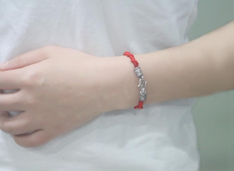 热卖925纯银接头抖音配件手链diy手工红绳锁扣头发编织搭扣扣子防过敏图片