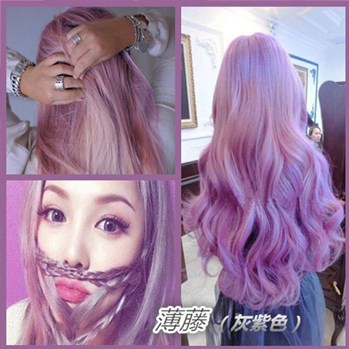 潮色韩国6d头发打蜡染发膏/剂抛光护理紫色蓝红薄藤奶奶灰闷青色图片