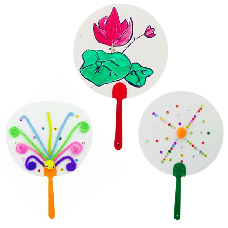 儿童手绘diy小扇子绘画diy空白纸扇 幼儿园画画纸扇 圆形卡纸扇图片