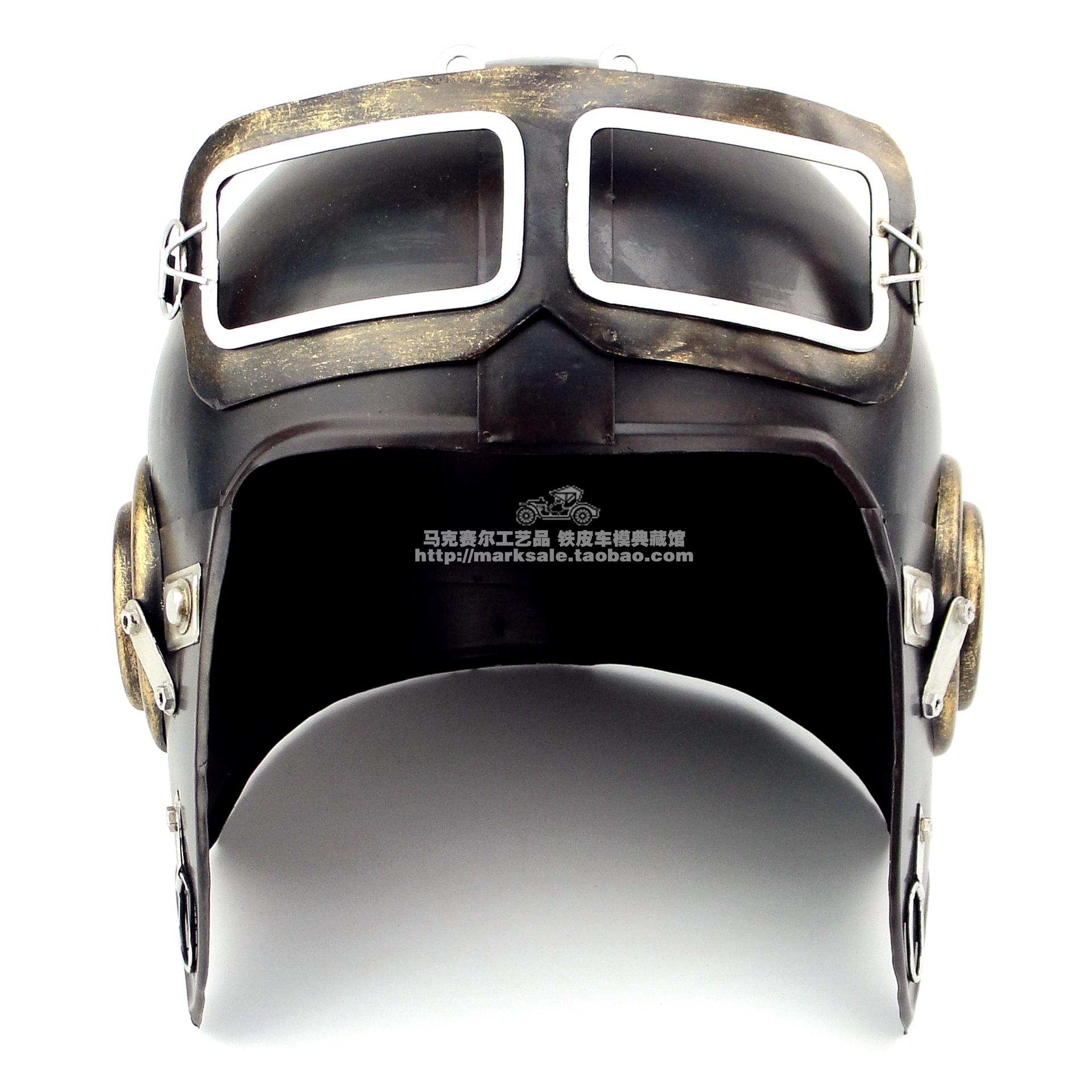 二战美军飞行员帽子复古美式风格装饰铁艺仿古做旧工艺品餐厅装饰图片