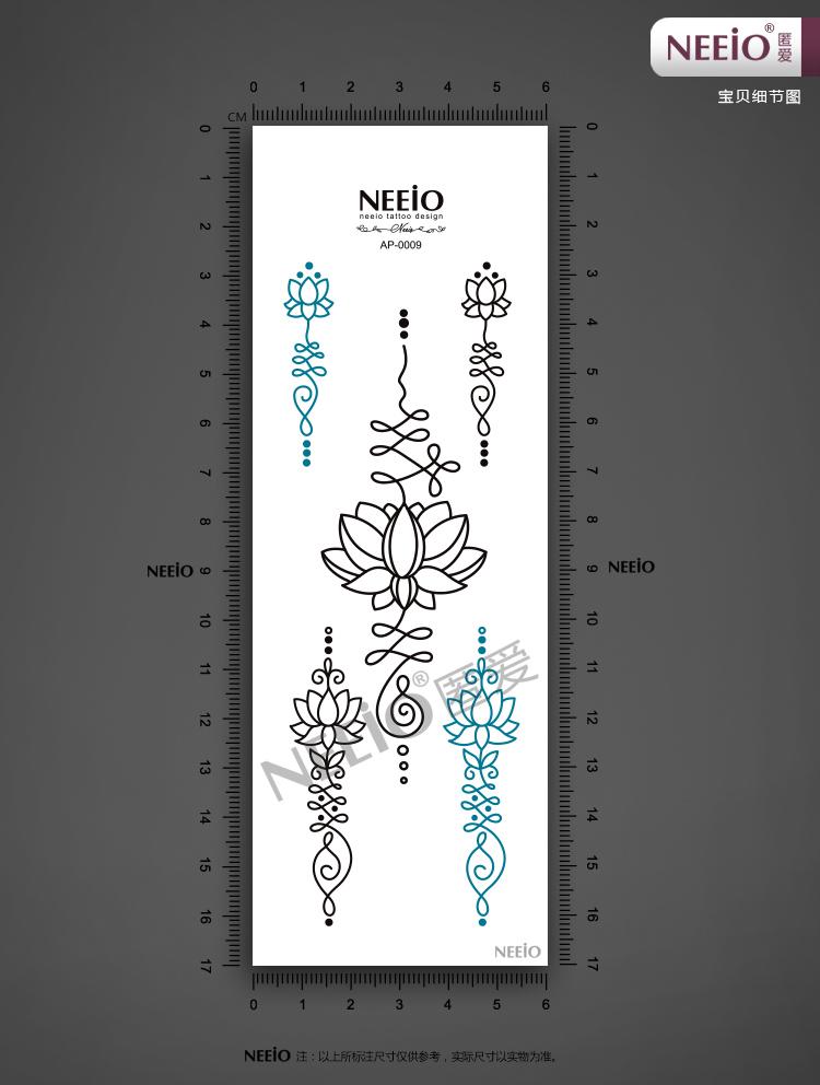 热卖neeio原创 纹身贴 远古莲花图腾 黑色刺青色 瑜伽 贴纸 防水 女