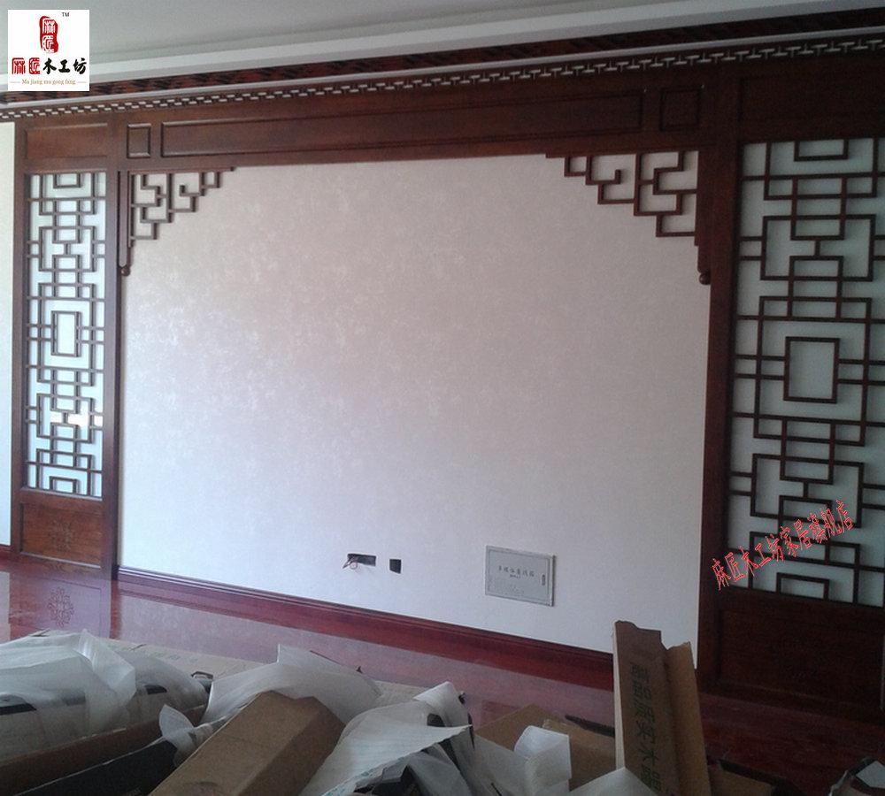 热卖东阳木雕 定做 中式电视背景墙装饰木格 镂空 花格 实木 门窗屏风图片