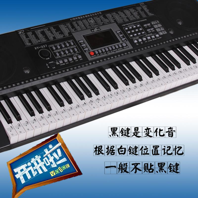电子琴键盘贴61键54键通用 透明五线谱简谱键位贴 电子琴自学入门图片