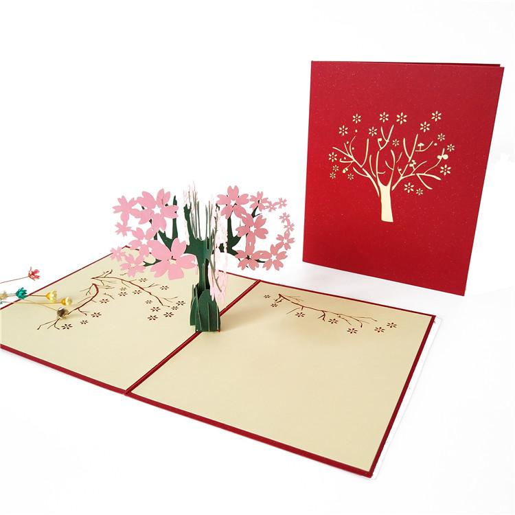 国庆节立体贺卡 樱花之恋创意纸雕 浪漫情人节礼物 婚礼贺卡包邮