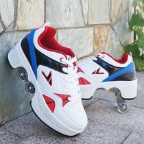 安格卢特变形鞋双排双轮暴走鞋自动四轮两用轮滑鞋溜冰鞋滑板鞋子
