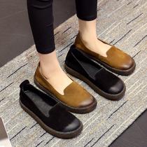 春季新款复古奶奶鞋真皮平底浅口一脚蹬女鞋防滑软底孕妇鞋女单鞋