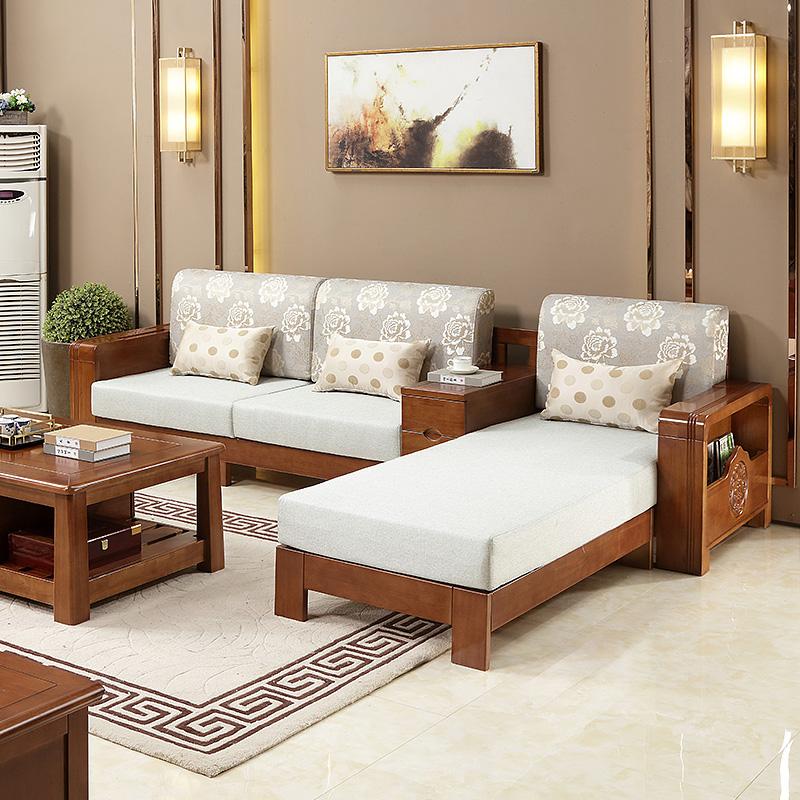 热卖巨桑家私 实木沙发小户型 布艺 实木三人位现代中式家具1+2+3组合