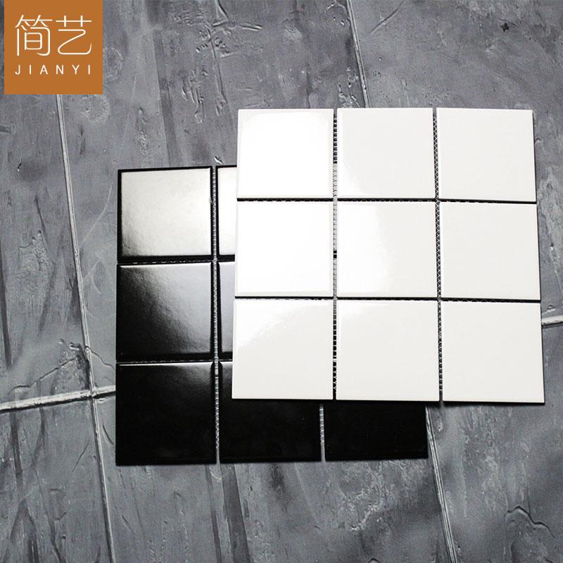 北欧现代黑白格子砖九宫格厨卫瓷砖厨房墙砖简约阳台卫生间釉面砖图片