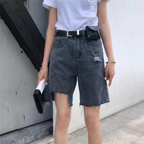 欧洲站2019夏新款配腰包破洞不规则缺口牛仔短裤女bf风直筒五分裤