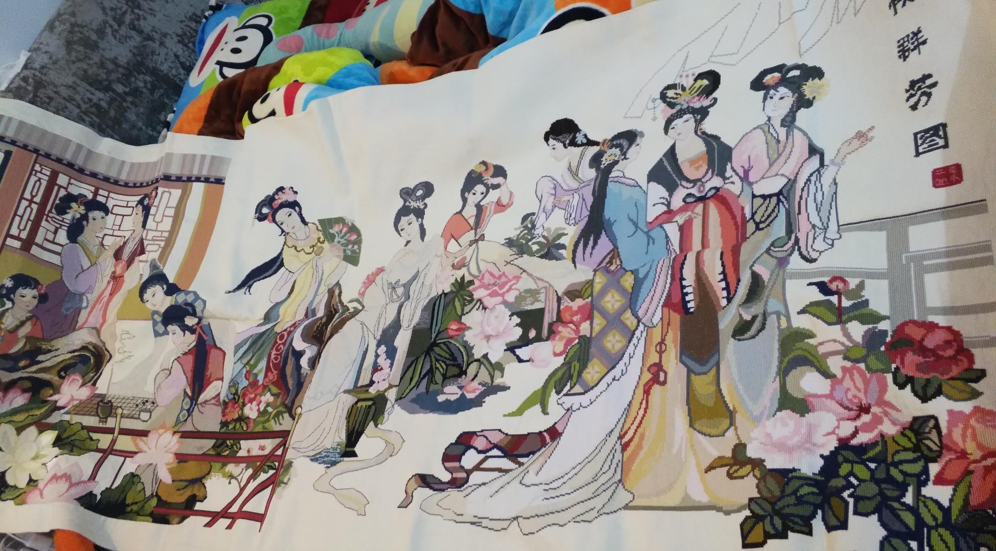 热卖绣好的十字绣成品纯手工客厅琴棋书画仕女图十二金钗出售八大美女