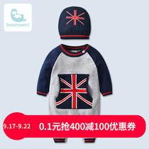 童装男宝宝可爱针织连体衣秋装套装0-1-2岁婴儿衣服纯棉外出爬服