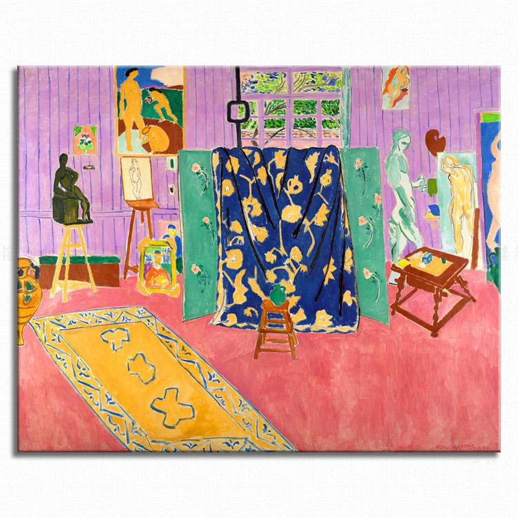 粉红画室 henri matisse 马蒂斯 艺术装饰画野兽派色彩大师装饰画图片