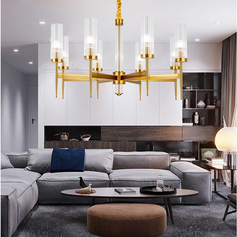 北欧式后现代轻奢金色吊灯家用创意客厅餐厅卧室别墅图片