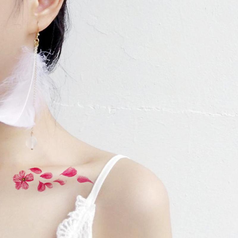 樱花纹身贴防水女古风仙女性感锁骨刺青粉色少女花朵持久仿真贴纸图片