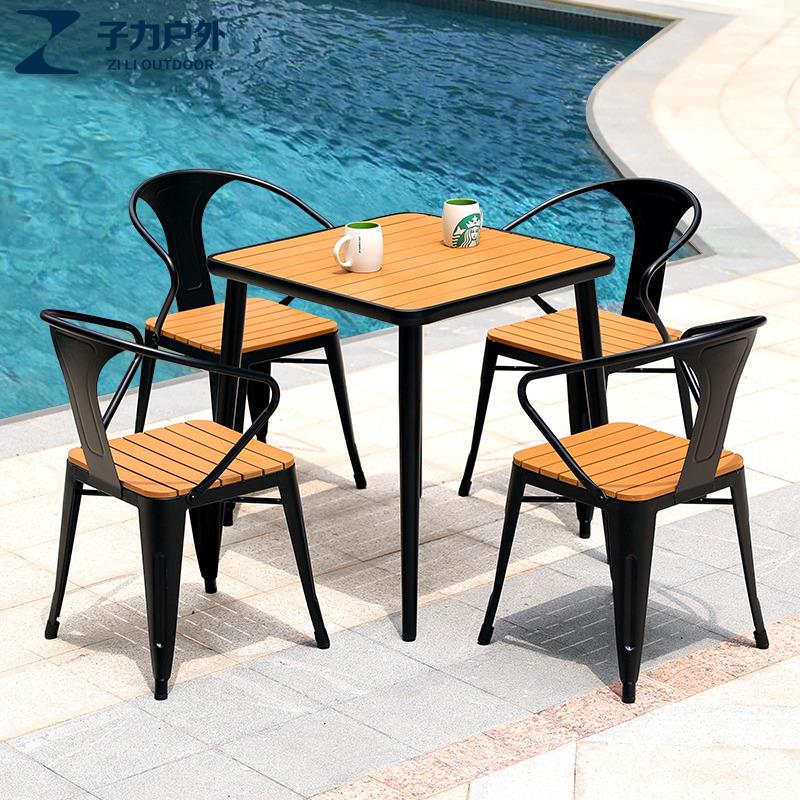 铁艺组合桌椅休闲户外阳台小茶几防腐塑木北欧咖啡奶茶店室外庭院
