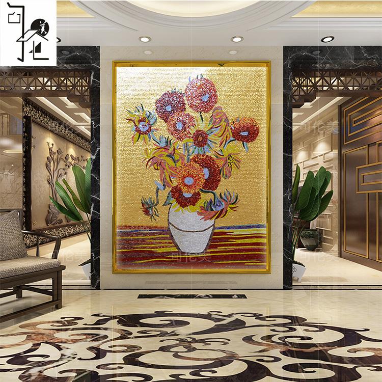 向日葵梵高花瓶马赛克剪画拼花拼图 餐厅玄关入户壁炉法式背景墙图片
