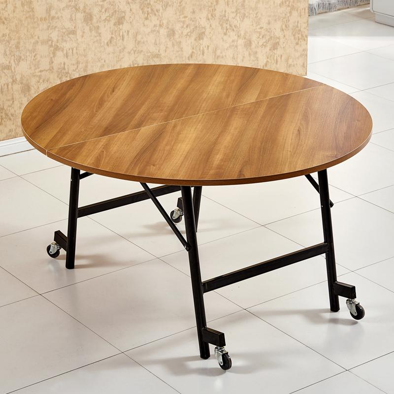 实木折叠桌圆形折叠餐桌酒店大台面圆桌家用简约小户型收纳饭桌子图片