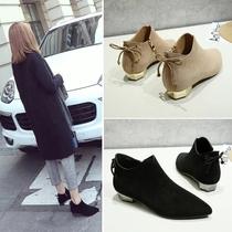 秋冬新款韩版女尖头低跟切尔西裸靴浅口方跟拉链英伦休闲女短靴