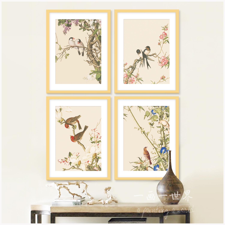 双飞燕禅意壁画新中式装饰画客厅挂画花鸟字画卧室书房中式山水画图片