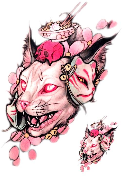 love彩虹 猫咪纹身贴防水男女持久性感花臂大图浮世绘日式