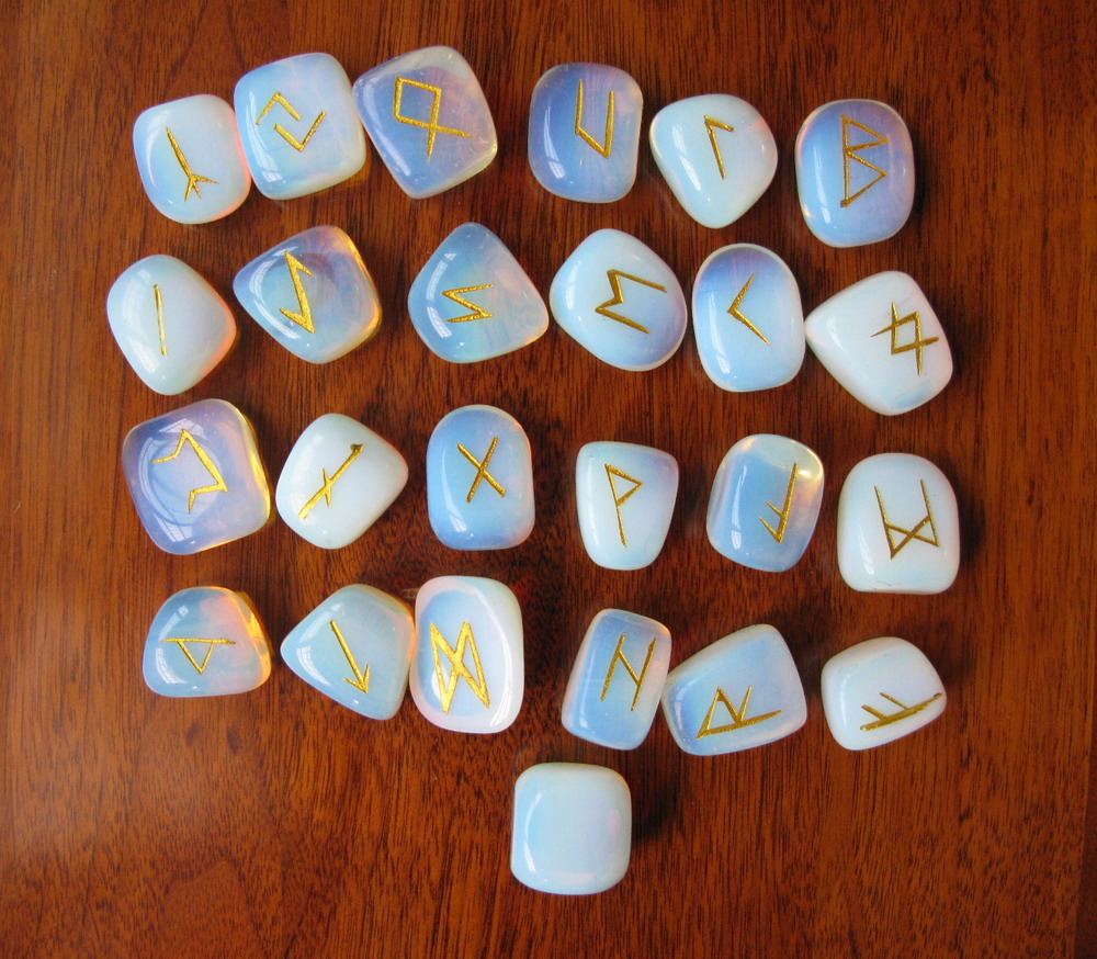 runes天然蛋白石如尼石卢恩符文占卜石沉雕描金定制包邮图片