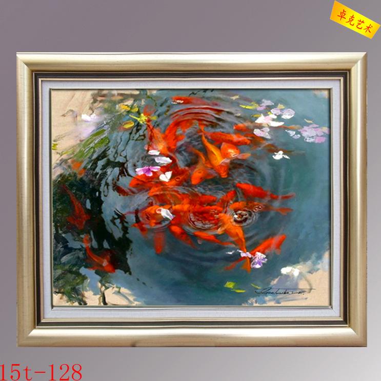 手绘荷塘红色九鲤鱼油画 中式餐厅玄关装饰画 客厅壁画高档有框画图片
