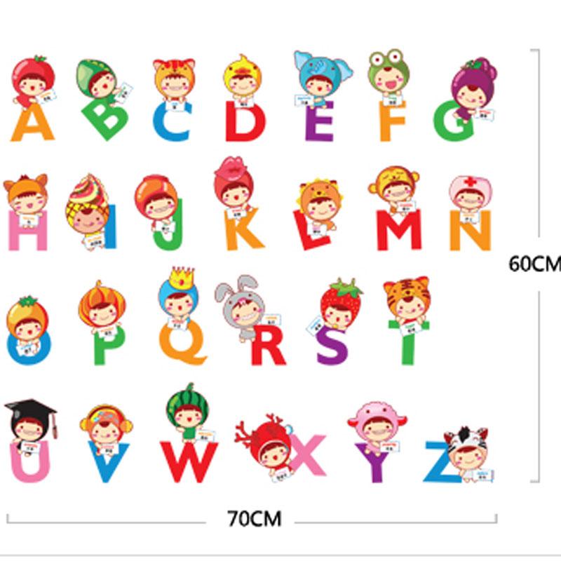 热卖原创设计可爱卡通动物数字儿童房幼儿园早教学习自粘墙贴纸贴画
