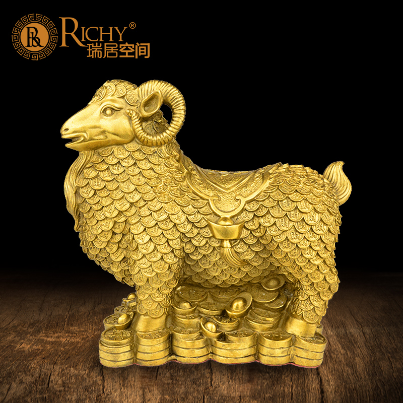 纯铜羊摆件招财羊万福羊生肖羊家居工艺品风水招财客厅摆设图片